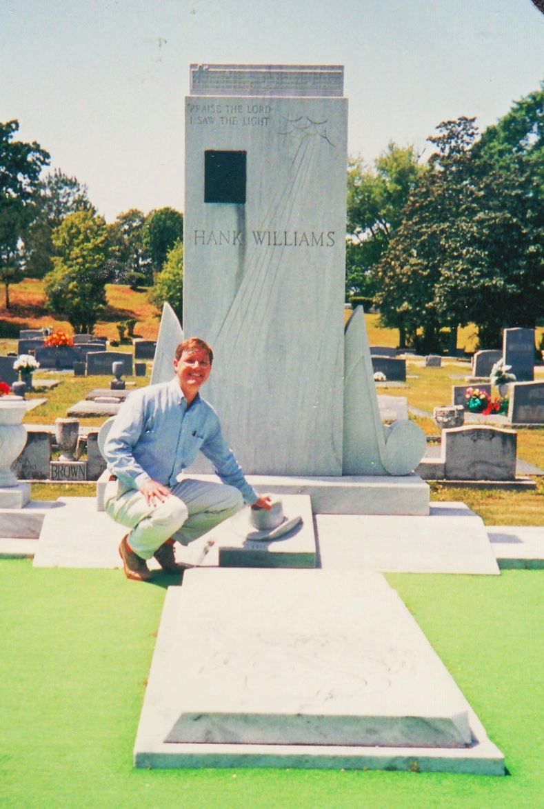 His Hand Rests On The Marble Replica Of Hank Williams Sr S Cowboy