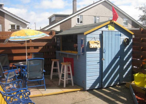 Instead Of Destroying Their Old Shed They Made It Something Incredible I Am Jealous Bar Shed Backyard Sheds Shed