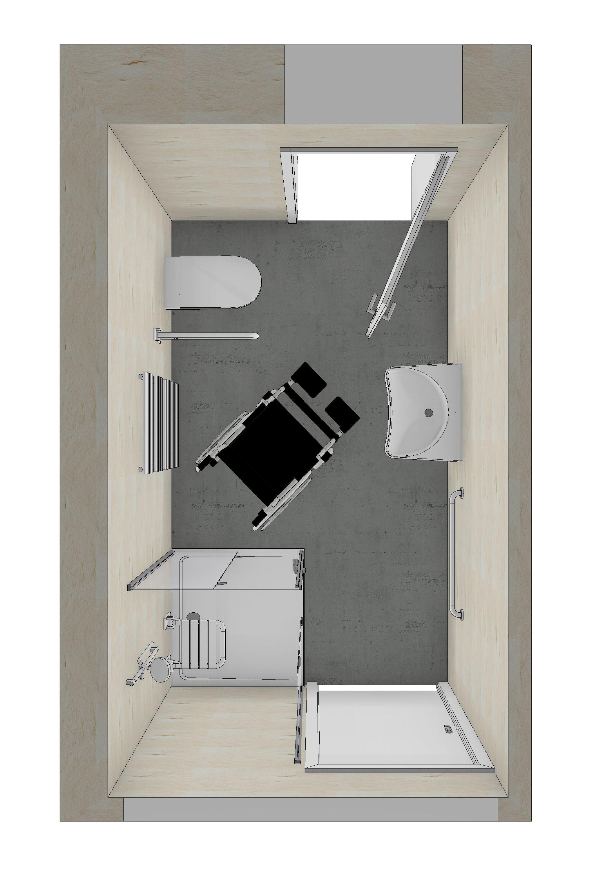 eine 3D-Planung eines barrierefreien Badezimmers
