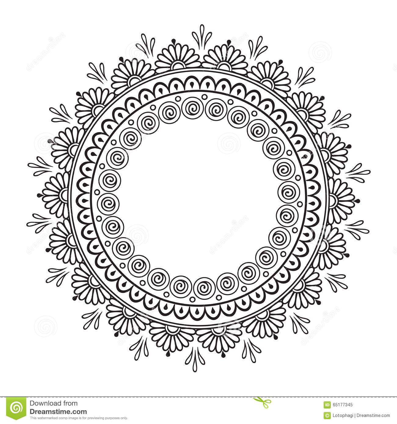 Coloring Book Pages Kids Adults Hand Drawn Abstract Design Decorative Indian Mandala Round Lace Ornate Frame Plate How To Draw Hands Mandala Design Art Mandala