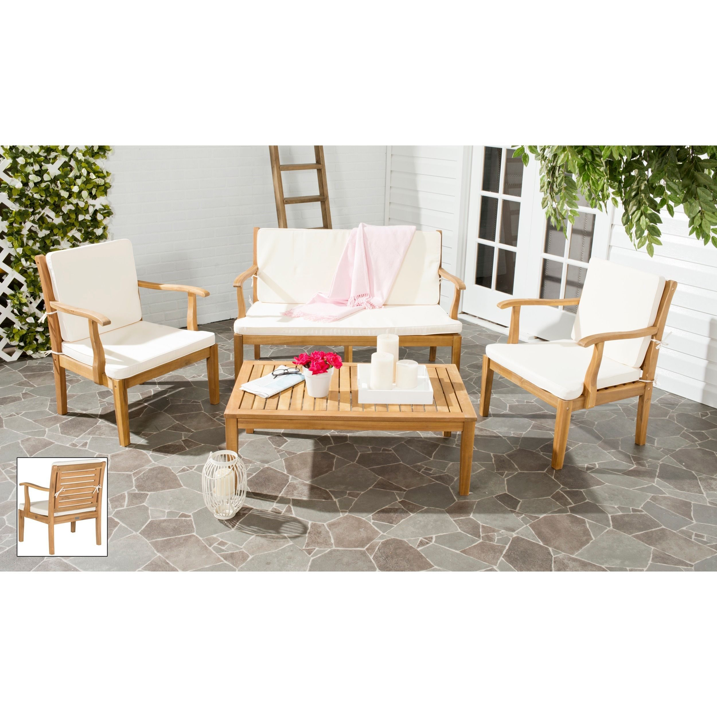 Exuding British colonial style, the Fresno 4-piece outdoor living set features back detailing and coffee table top inspired by plantation shutters.