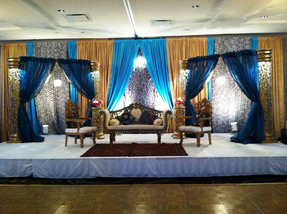 South Asian Wedding Decor Stage Blue And Gold Www