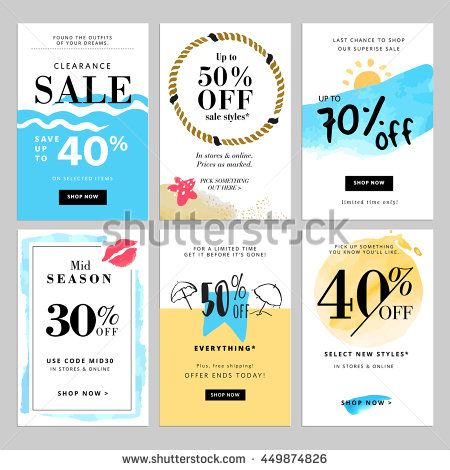 Set of season sale banner templates Vector illustrations for - coupon flyer template