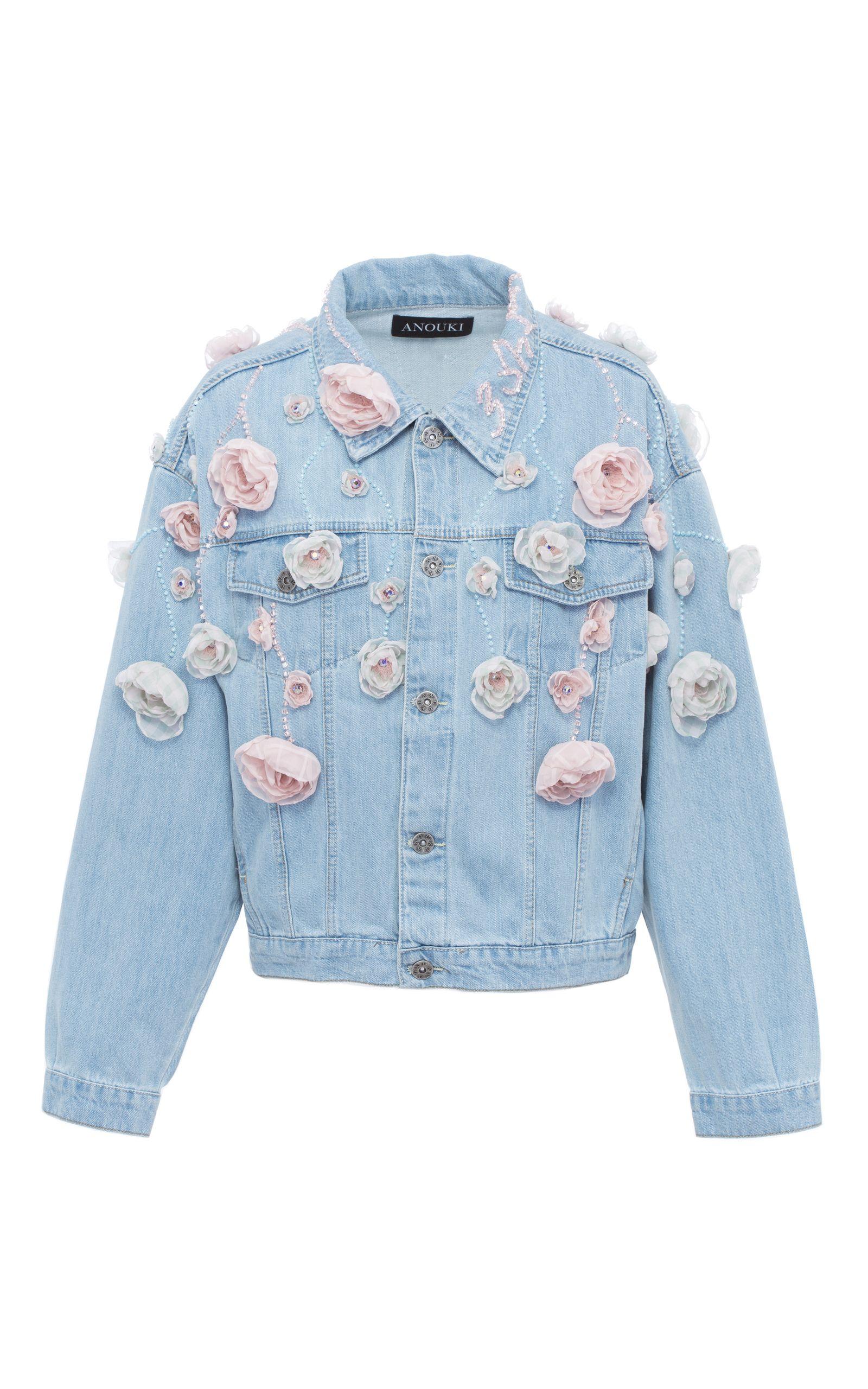 Floral Denim Jacket By Anouki Denim Jacket Floral Denim Printed Denim Jacket [ 2560 x 1600 Pixel ]
