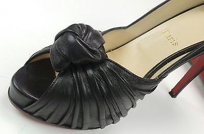 d76ac9b722c Christian Louboutin Black Knot Knotted Leather Bow Peep Toe Pump Size 40 5