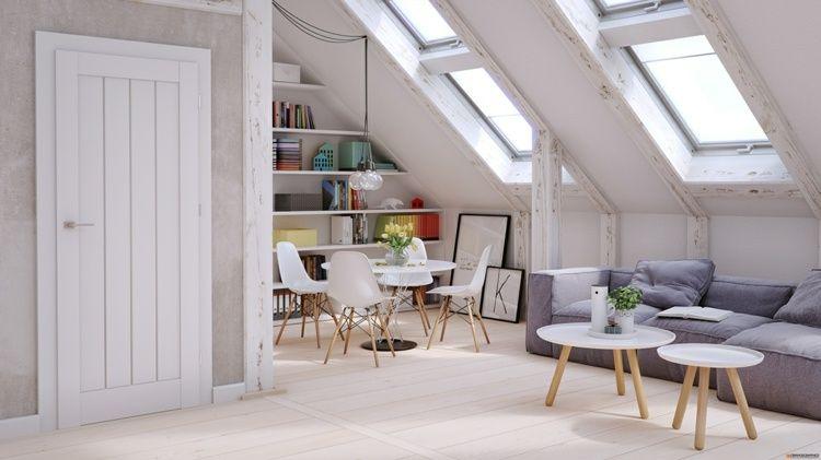 Skandinavischer Einrichtungsstil In Hellen Farben Dachschragen