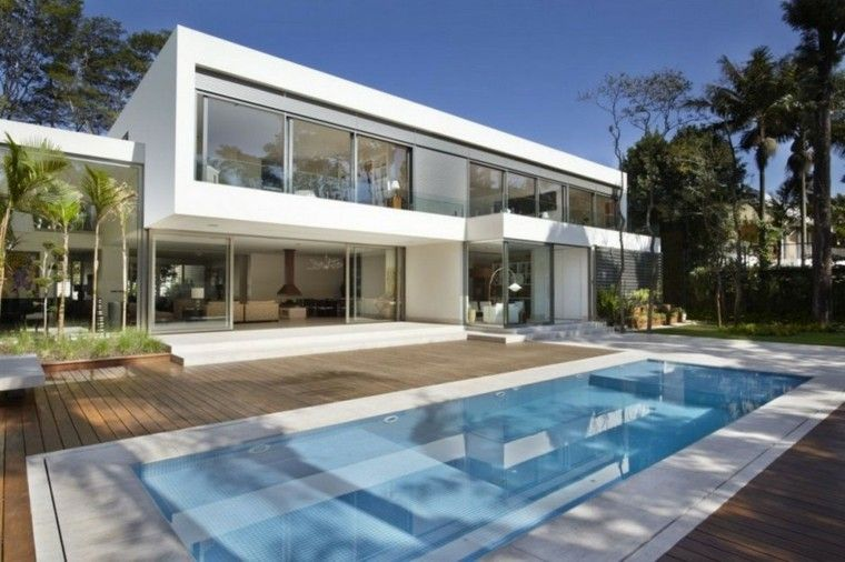Modelos de dise os paisajistas con piscina 75 ideas for Casa minimalista harborview hills