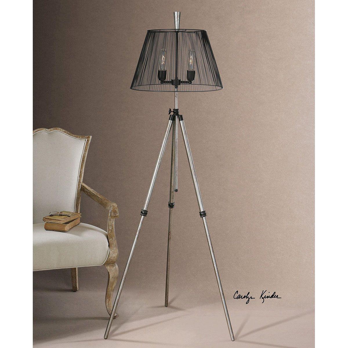 Uttermost Armada Tripod Floor Lamp 28463 Silver Tripod Floor