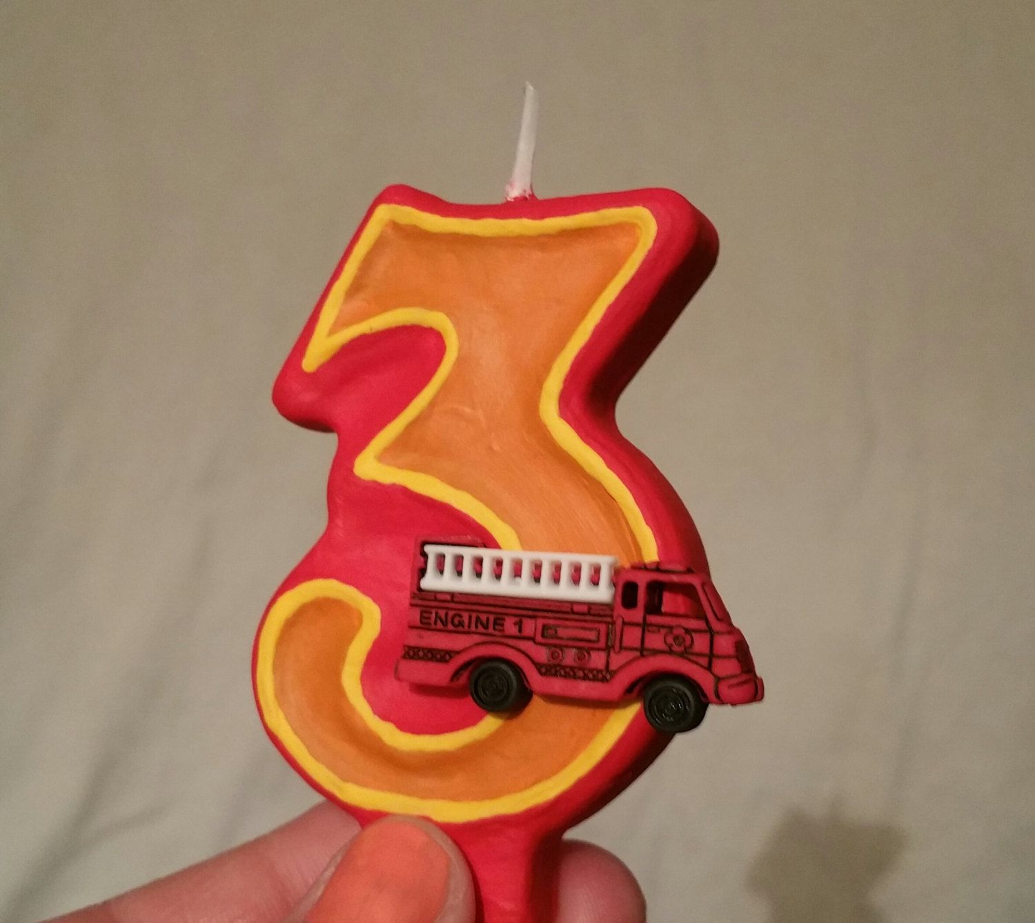Fire Truck Birthday Candle By SweetLilPeaches On Etsy
