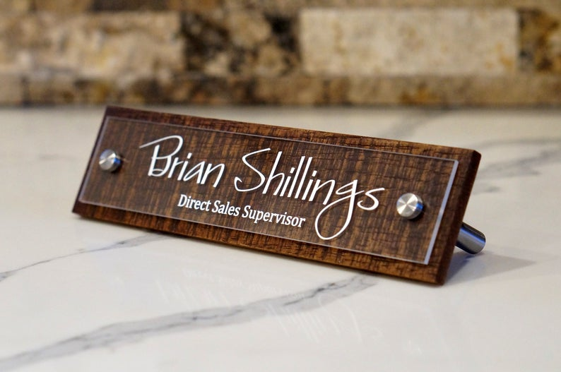 Desk Name Plate Rustic Custom Office Name Sign Personalized With Your Name And Title 2 5 X 10 Inches In 2020 Name Plate Rustic Plates Name Plate Design