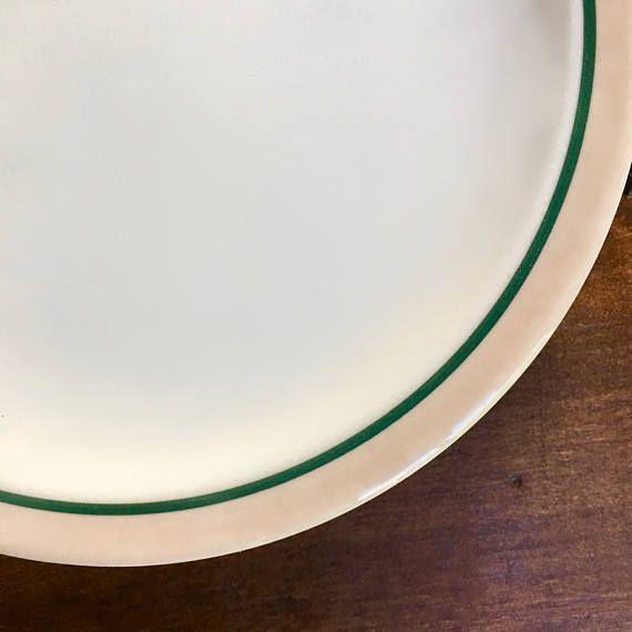 Dinner Plate Green Stripe on Pinky Beige Rim Durable & Dinner Plate Green Stripe on Pinky Beige Rim Durable | Restaurant ...