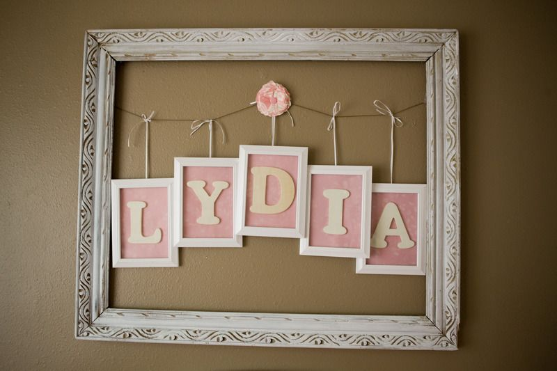 Nursery wooden wall letters in pink and gray by