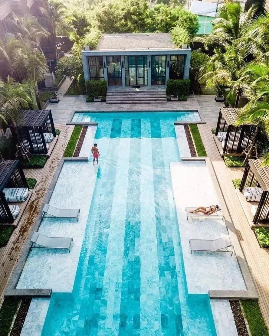 42 Beautiful Swimming Pool Backyard Garden Landscaping Ideas 19 Swimmingpool Backyard Lands Indoor Pool Design Swimming Pools Backyard Luxury Swimming Pools