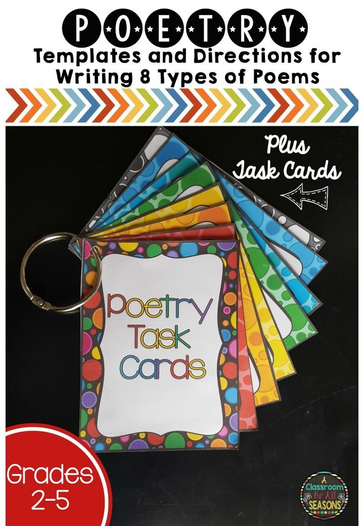 Fun poetry unit has templates and directions for writing 8 types of poems plus 7 colorful poetry task cards for centers or for early finishers. Great activities that can be used in the elementary classroom all year long!
