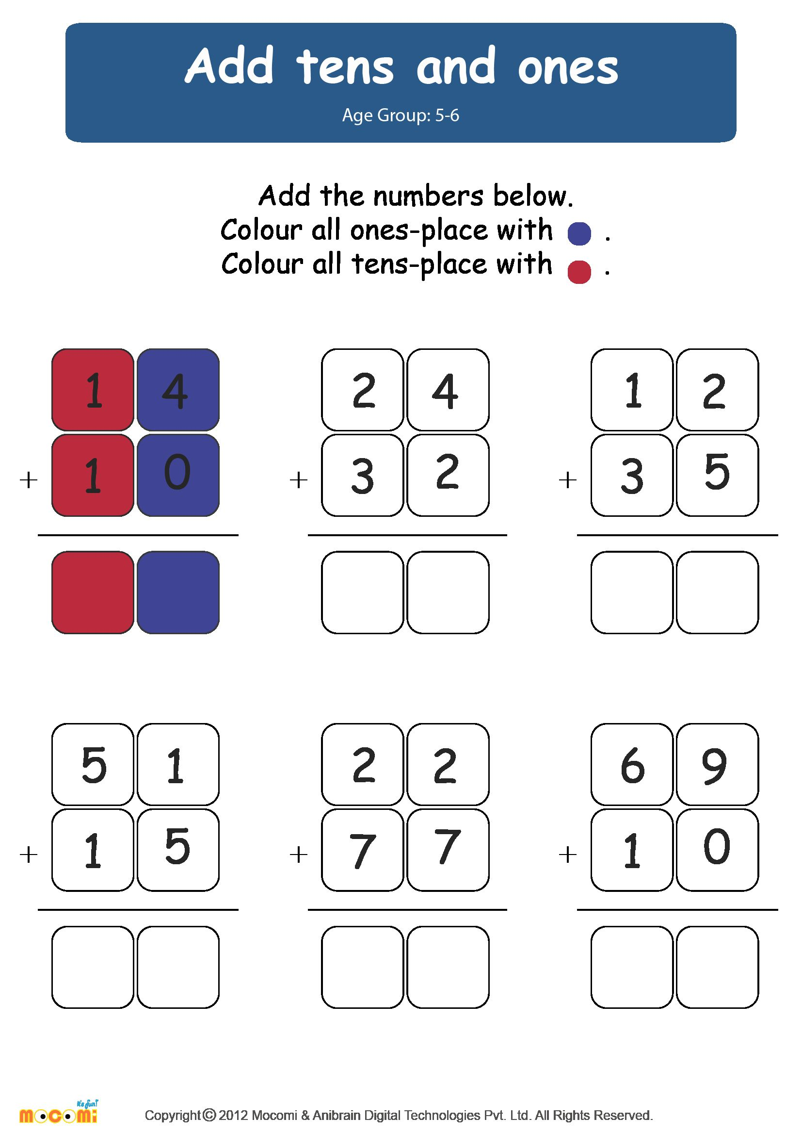 Worksheets For Kindergarten Tens And Ones In