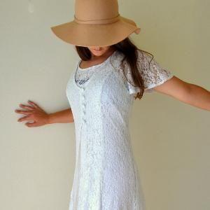Sheer Lace Dress Vintage Early 90s White Flutter Sleeve Simple Wedding Bohemian Sun Dress Small Medium by VintageandMain