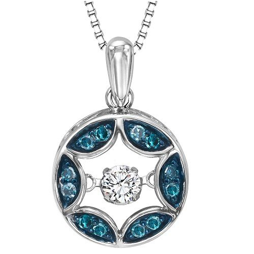 14kt rhythm of love diamond pendats that are powered by her blue diamonds rhythm of love circle pendant with matching sterling silver box necklace aloadofball Image collections