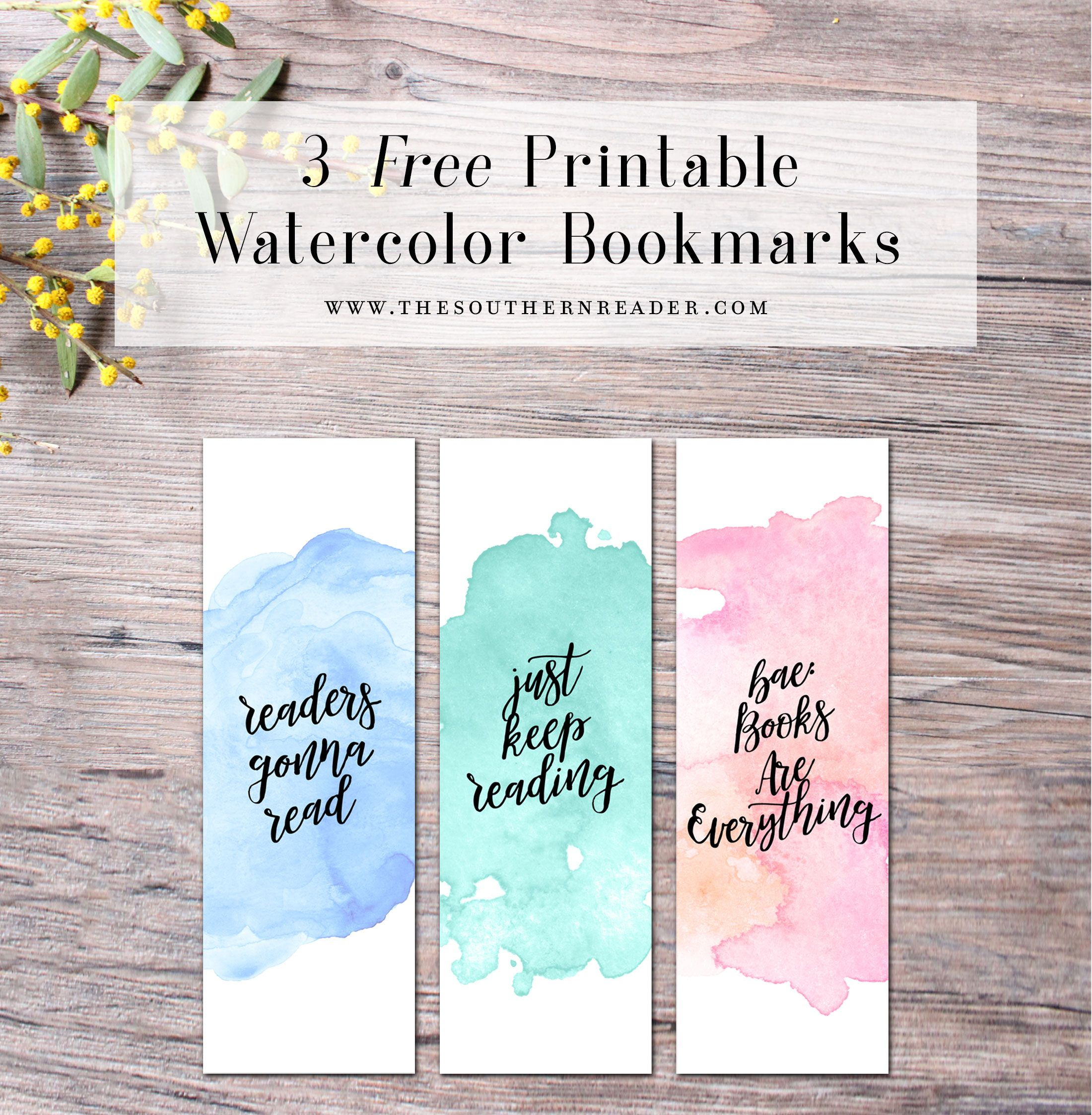 free printable watercolor bookmarks | calendar | pinterest