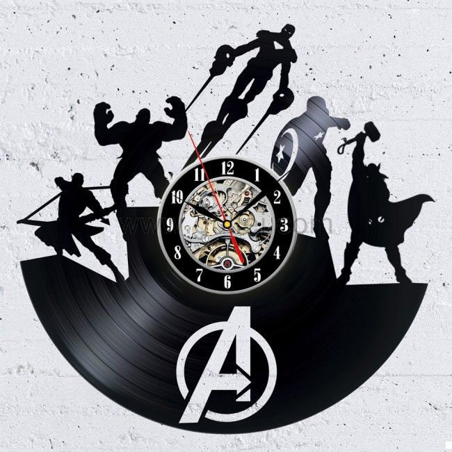 Unique Super Heroes Design Black Vinyl Record Wall Clock