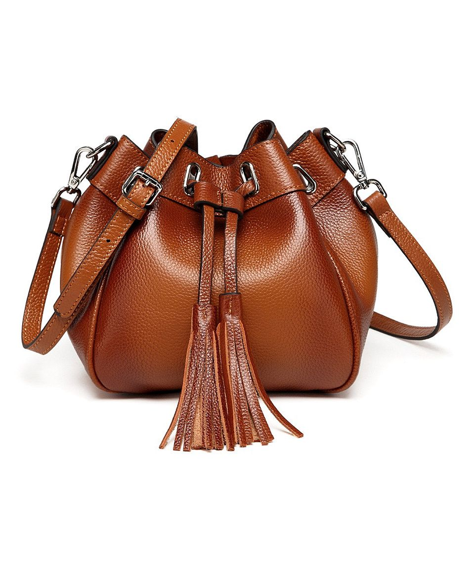 Love this Brown Jolie Leather Mini Bucket Bag by Vicenzo Leather on #zulily! #zulilyfinds