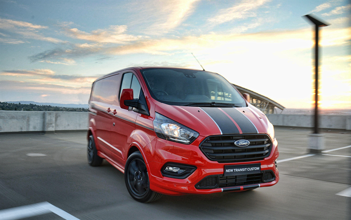 Download Wallpapers Ford Transit Custom Parking 2018 Cars Red