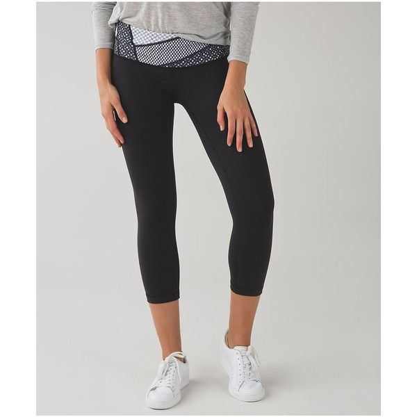 f9af02653314d lululemon Wunder Under Crop III *Full-On Luon ($88) ❤ liked on Polyvore  featuring activewear, activewear pants, yoga activewear and lululemon
