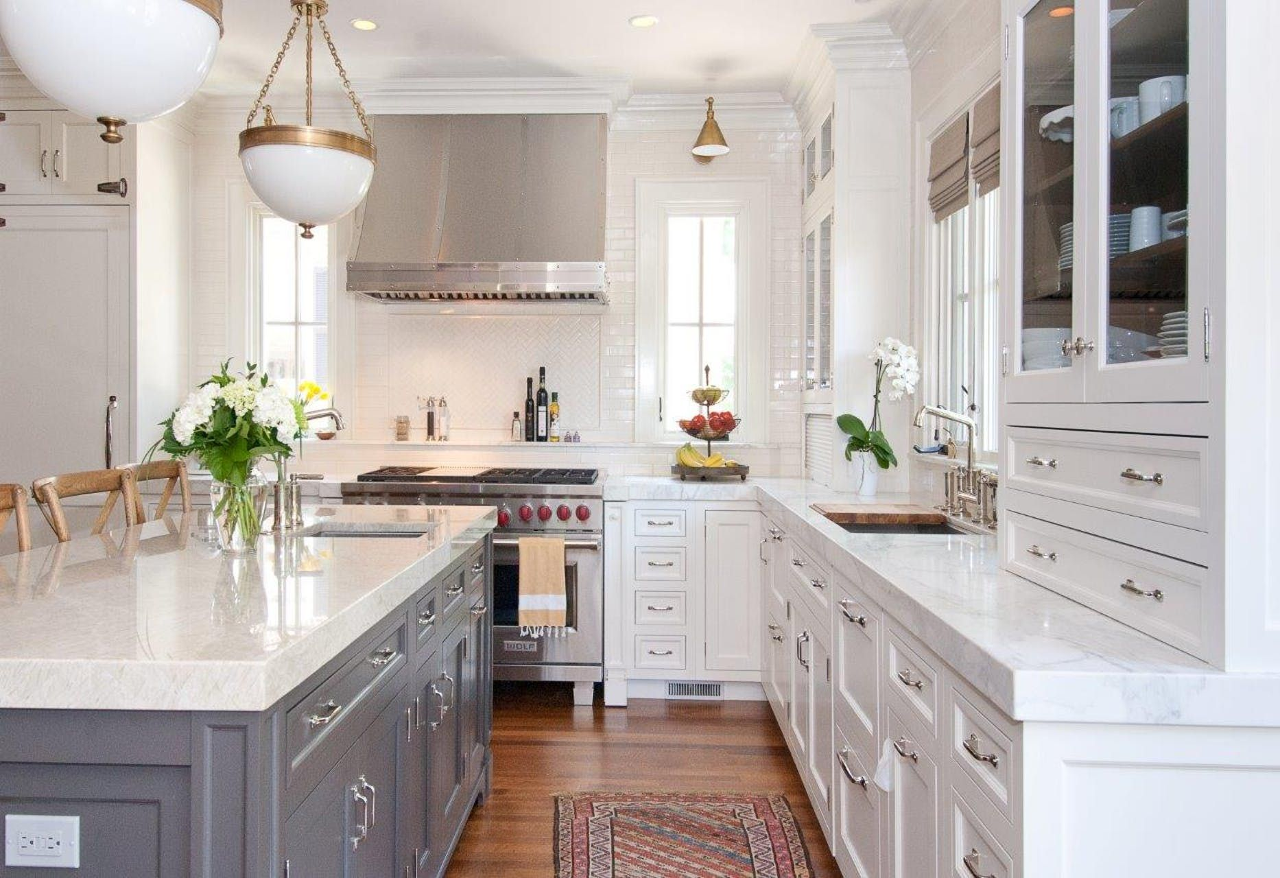 White Cabinets Gray Island Chrome Pulls Faucet Etc But Use Of Brass In Lighting Kitchen Design Kitchen Renovation Kitchen Remodel