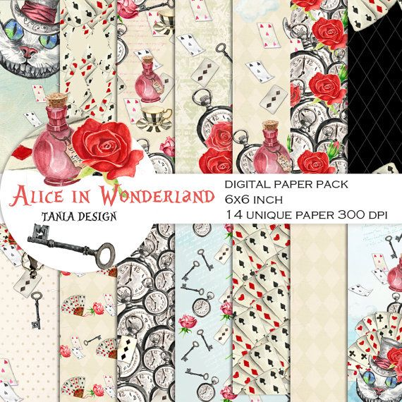 Card Toppers Alice In wonderland// Card making//Scrapbook//Paper Craft Supplies