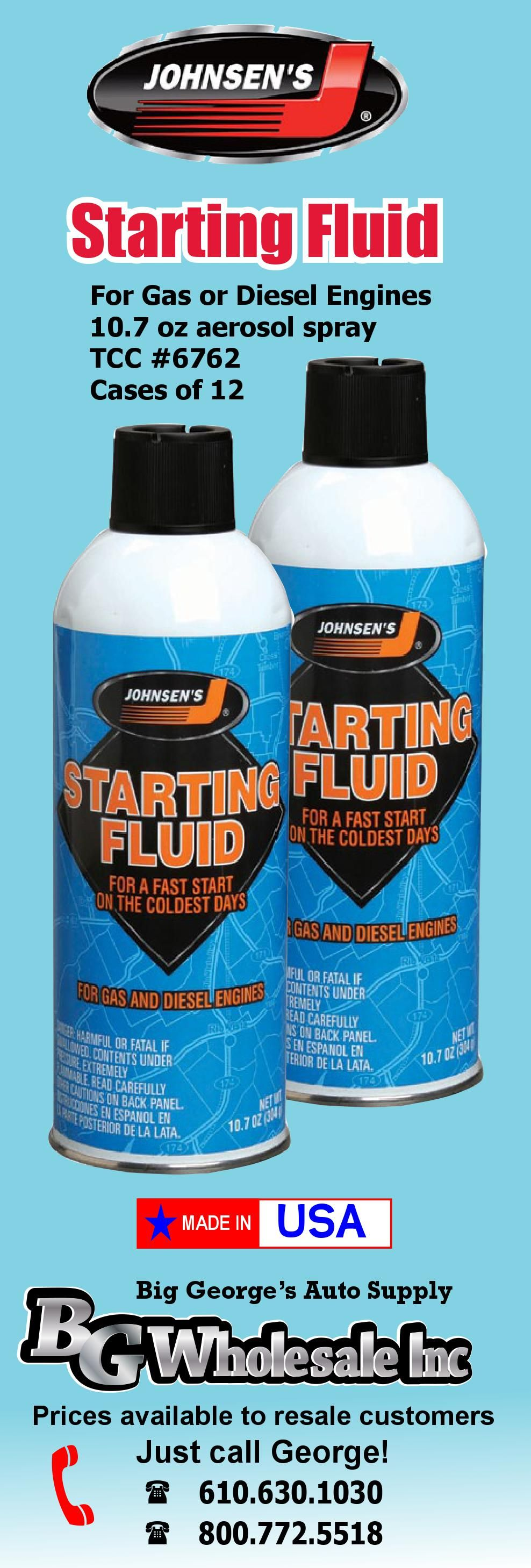 Johnsen S Starting Fluid Sold In Cases Of 12 Winter Essential