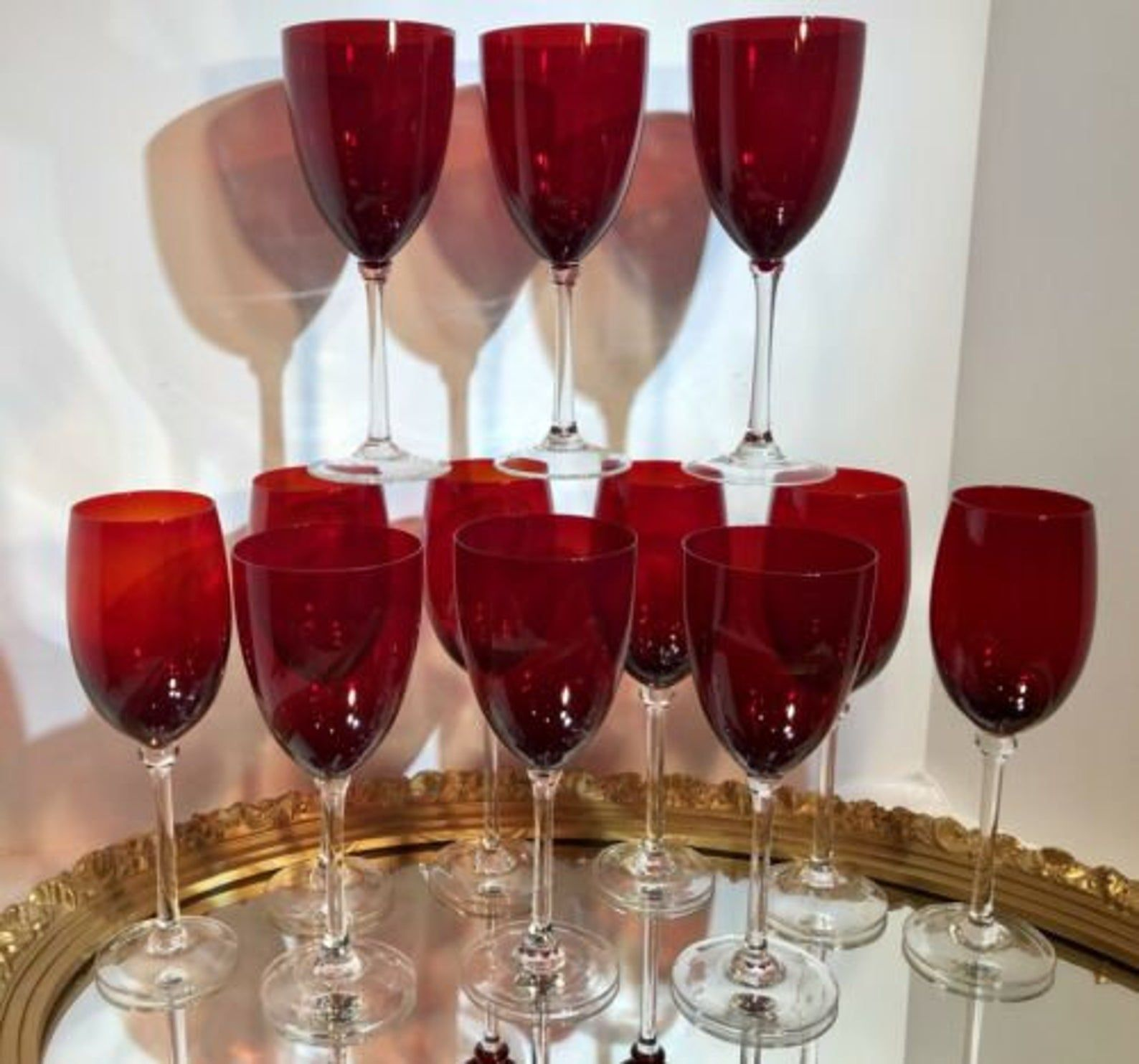 12 Ruby Red Glasses Hand Blown Water Glasses Wine Goblets 6 Ea Hold 12 Oz Wine Glass Sizes Hand Blown Wine Goblets