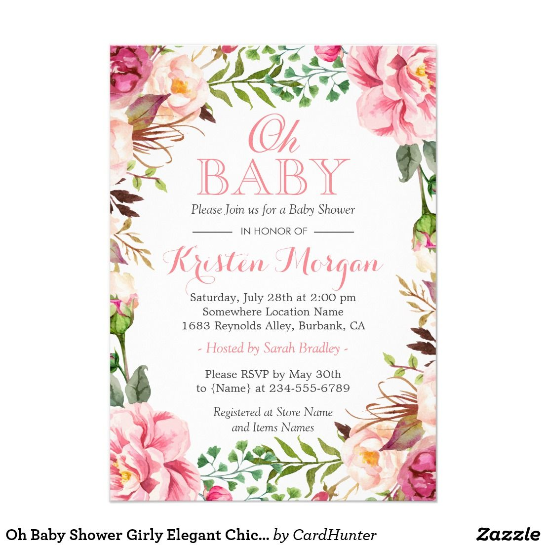 Oh Baby Shower Girly Elegant Chic Pink Flowers Card | baby room ...