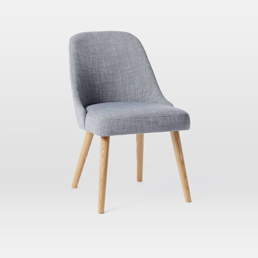 Mid Century Upholstered Dining Chair Wooden Legs Mid Century