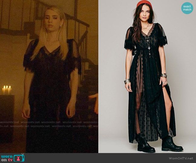 4061f17c5663f7 Madison s black lace maxi dress on American Horror Story. Outfit Details   https