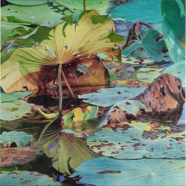 """Lotus Leaf, 2012, Oil on canvas, 30"""" x 30"""""""