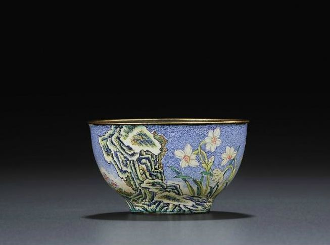 A rare small painted enamel cup, Qianlong blue-enamelled four-character mark within double squares and of the period (1736-1795).