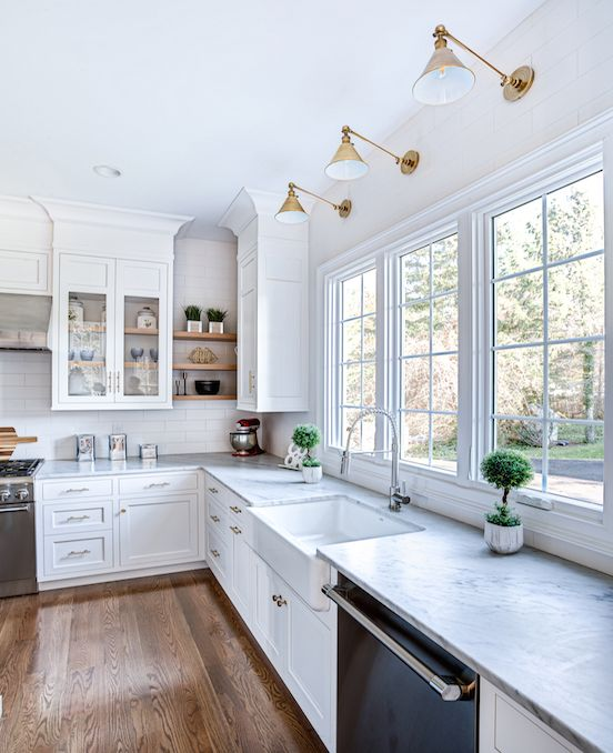 Kitchen Design Ideas Inspiration: White Kitchen Inspiration, Lighting, Exposed Shelving