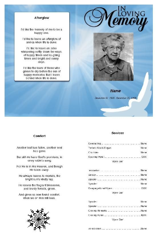 Afterglow Funeral Program Template  Program Template Funeral And