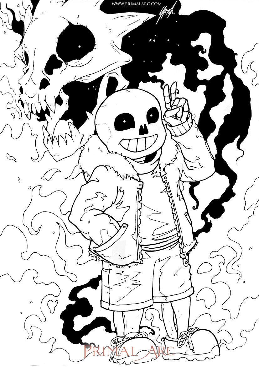 Free Colouring Page Of Sans From Undertale Www Primalarc Com