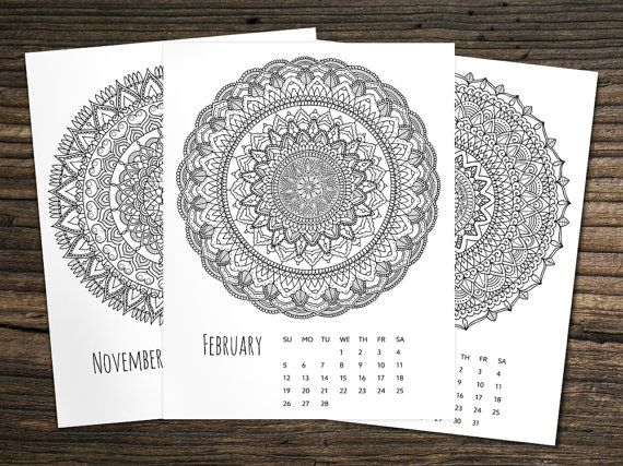 Coloring Pages For January Month : Calendar mandala zentangle a wall calendar coloring