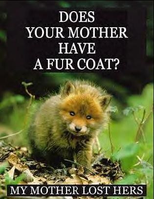 Fur is murder! It causes orphans, and we don't need it!