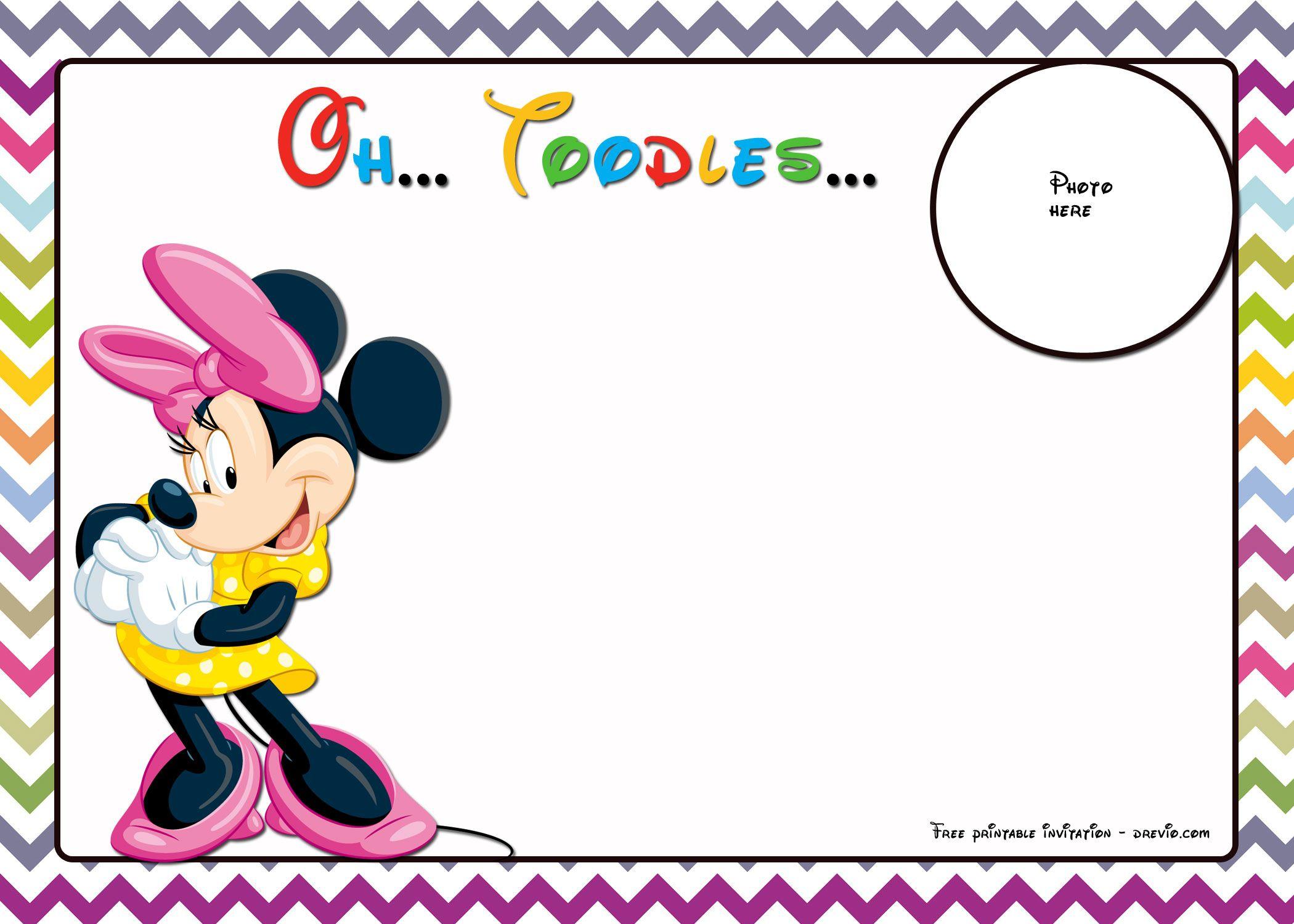 FREE Mickey Mouse Birthday Invitations Template - Chevron Edition ...
