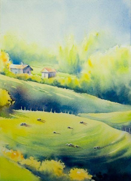 pas pas paysage basque accessible aquarelle marichalar watercolor water colour. Black Bedroom Furniture Sets. Home Design Ideas