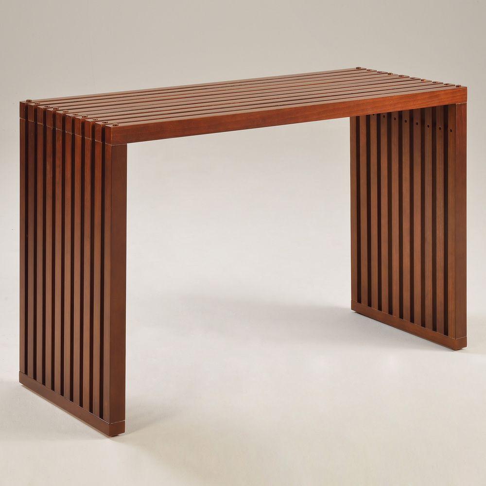 Slat walnut finish sofa table overstock cabin chic slat walnut finish sofa table overstock geotapseo Choice Image