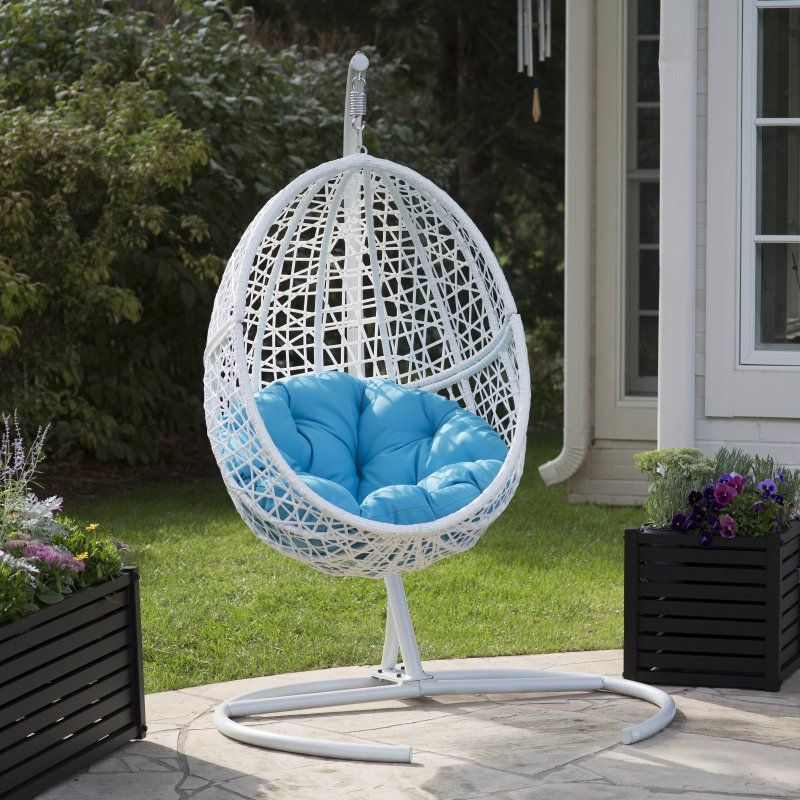 Outdoor Island Bay Resin Wicker Blanca Hanging Egg Chair With Cushion Color  Option And Stand   WS 7323