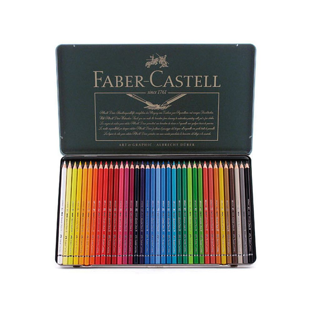 Faber Castell 36 Watercolor Pencil Set Tin Drawing Painting