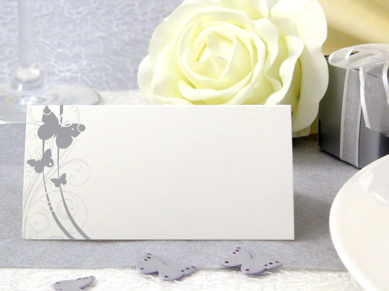 50x tischkarten hochzeit einssein liebesfalter silber hochzeit tischkarten platzkarten. Black Bedroom Furniture Sets. Home Design Ideas
