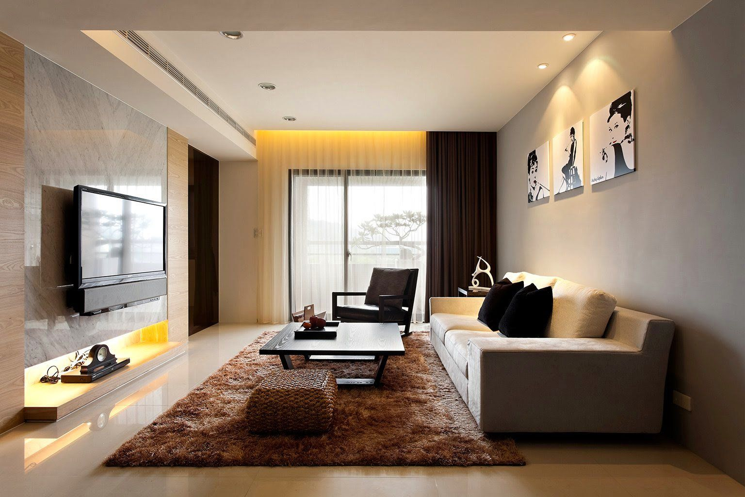 Home Design, Modern Living Room Decor Black Table Brown Fur Rug White Sofa  Tv Hand Chair Painting Grey Wall Tile Curtain Door Window Ceramic Floor And  Many ...