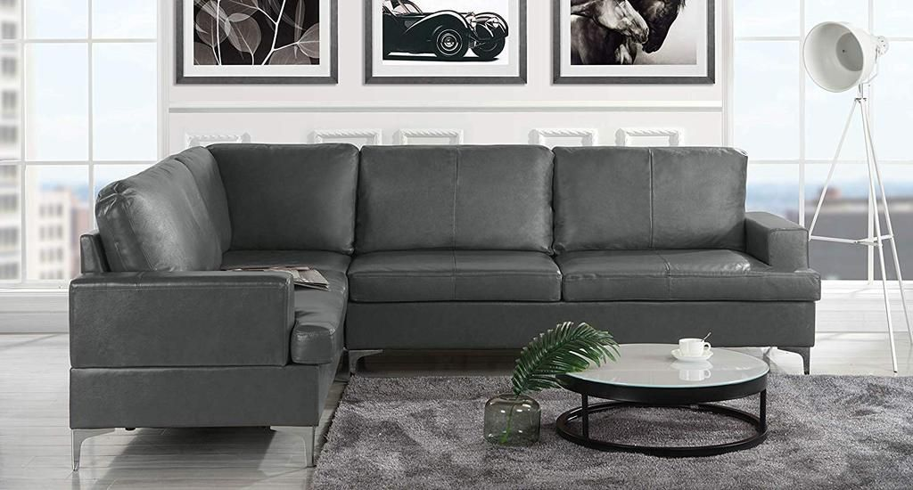 Phenomenal Upholstered 103 9 Inch Leather Sectional Sofa L Shape Pdpeps Interior Chair Design Pdpepsorg