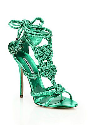 Brian Atwood Yuna Knotted Braided Leather Ankle-Tie Sandals<br>