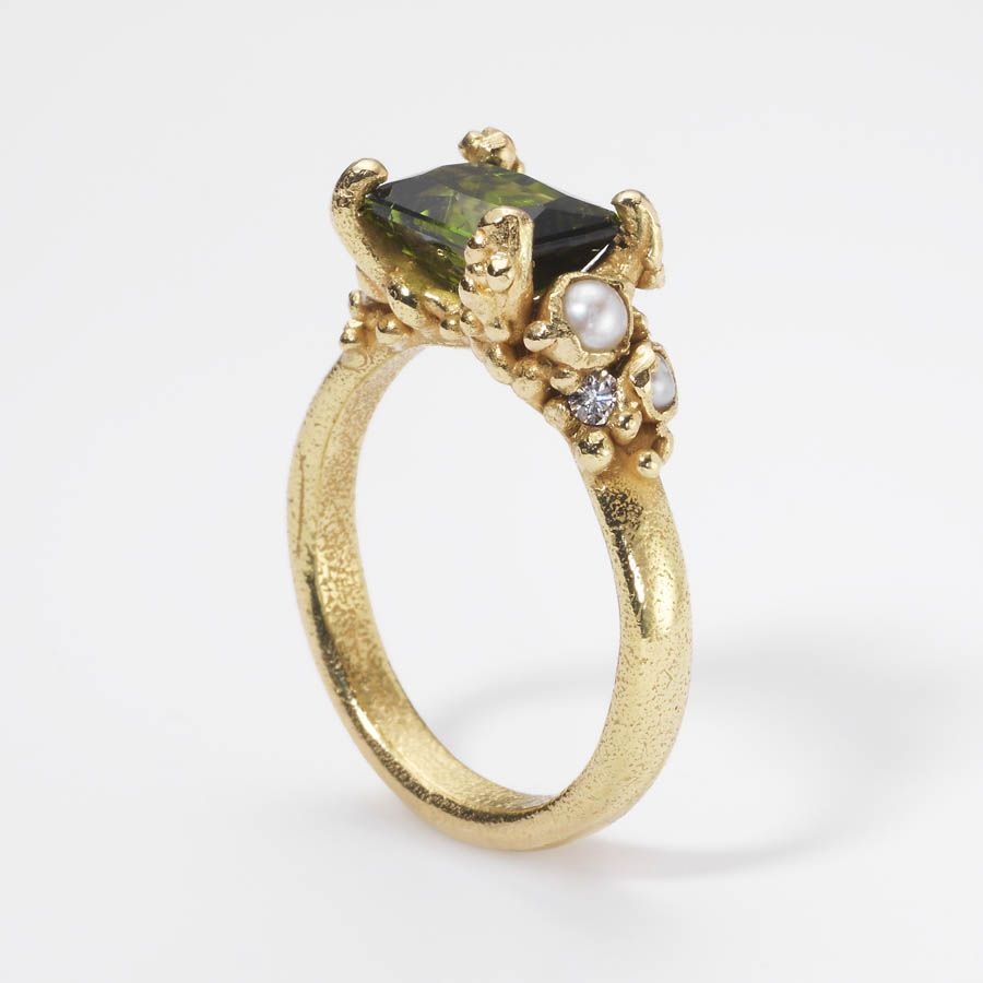 Ruth Tomlinson — Single Tourmaline Encrusted Ring 18ct yellow gold, tourmaline, pearls, white diamonds  20mm x 30mm  £1450
